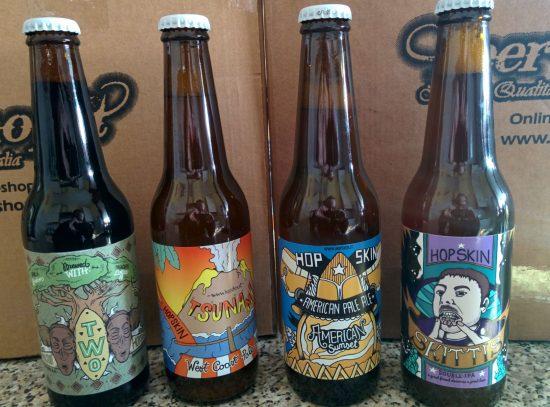 Alcune delle birre di Hop Skin, microbirrificio con sala degustazione a Curno (BG) a due passi dal cinema UCI. Birre serie, fatte bene, ispirate al movimento birrario della costa occidentale degli USA invece che al solito Belgio. Ne riparleremo.